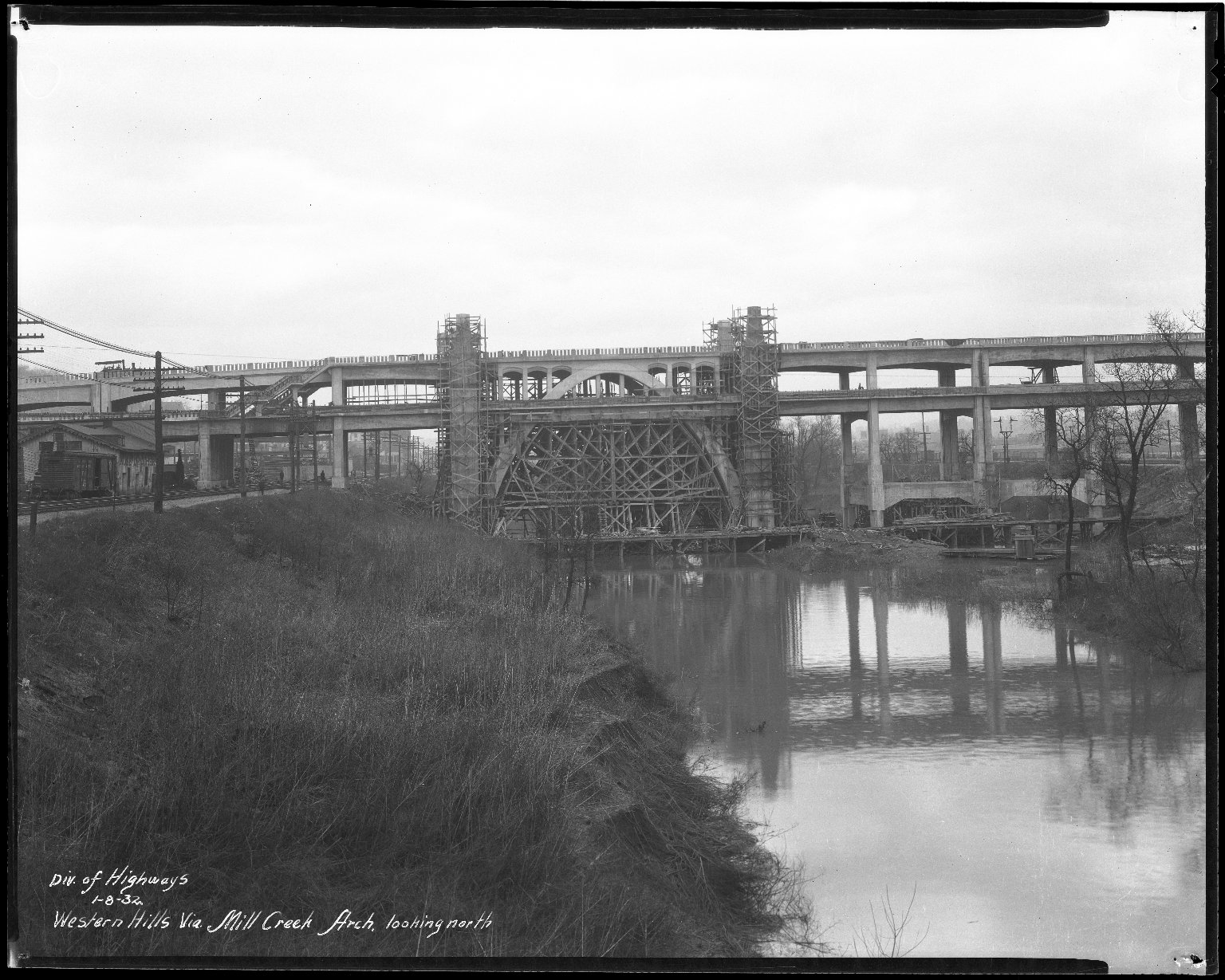 Street Improvement Photographs -- Box 47, Folder 09 (Western Hills Viaduct) -- negative, 1932-01-08