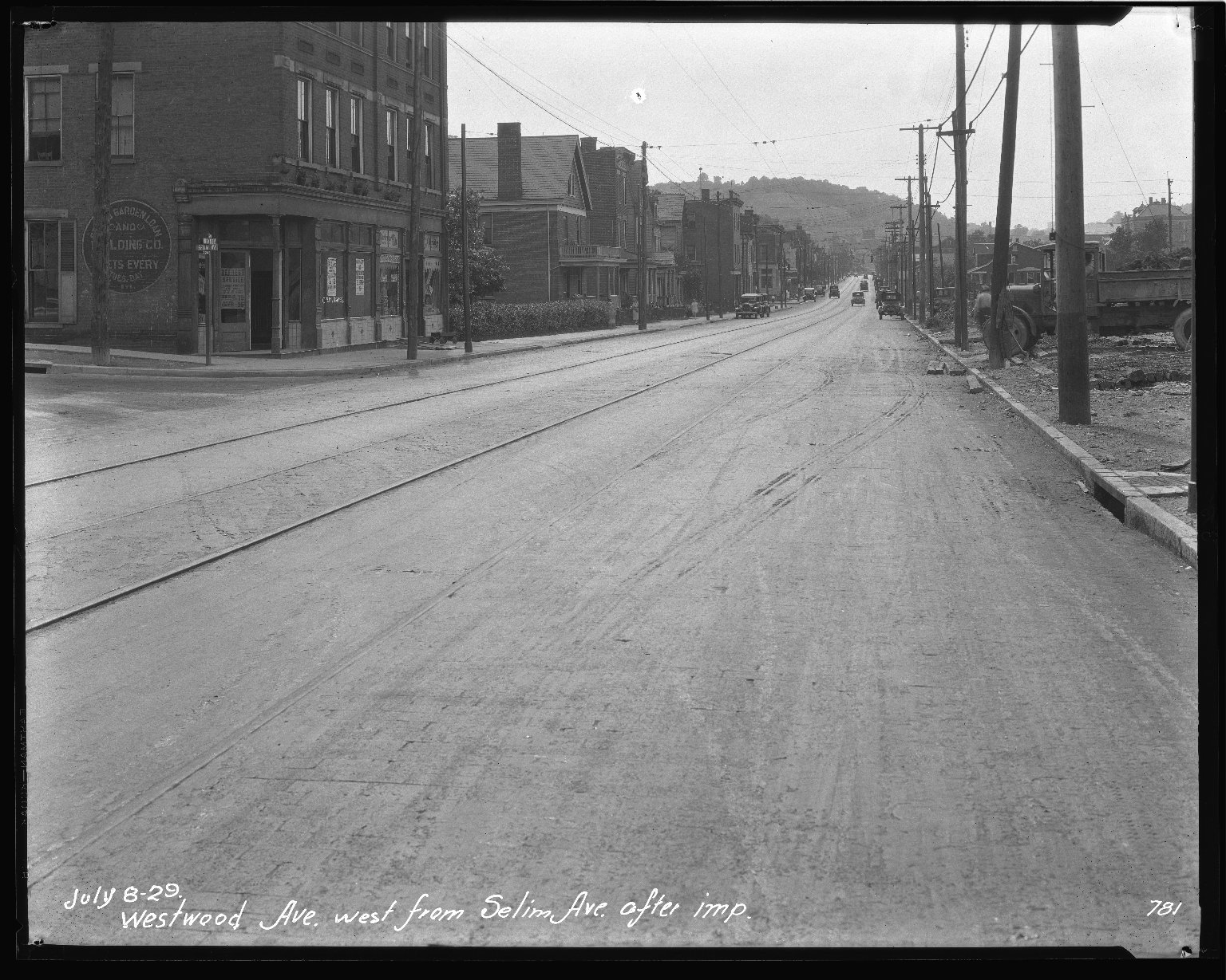 Street Improvement Photographs -- Box 47, Folder 16 (Westwood Avenue) -- negative, 1929-07-08