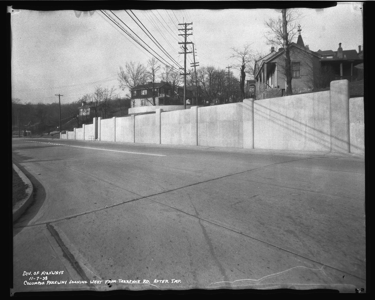 Street Improvement Photographs -- Box 50, Folder 24 (November 6, 1938 - November 7, 1938) -- negative, 1938-11-07