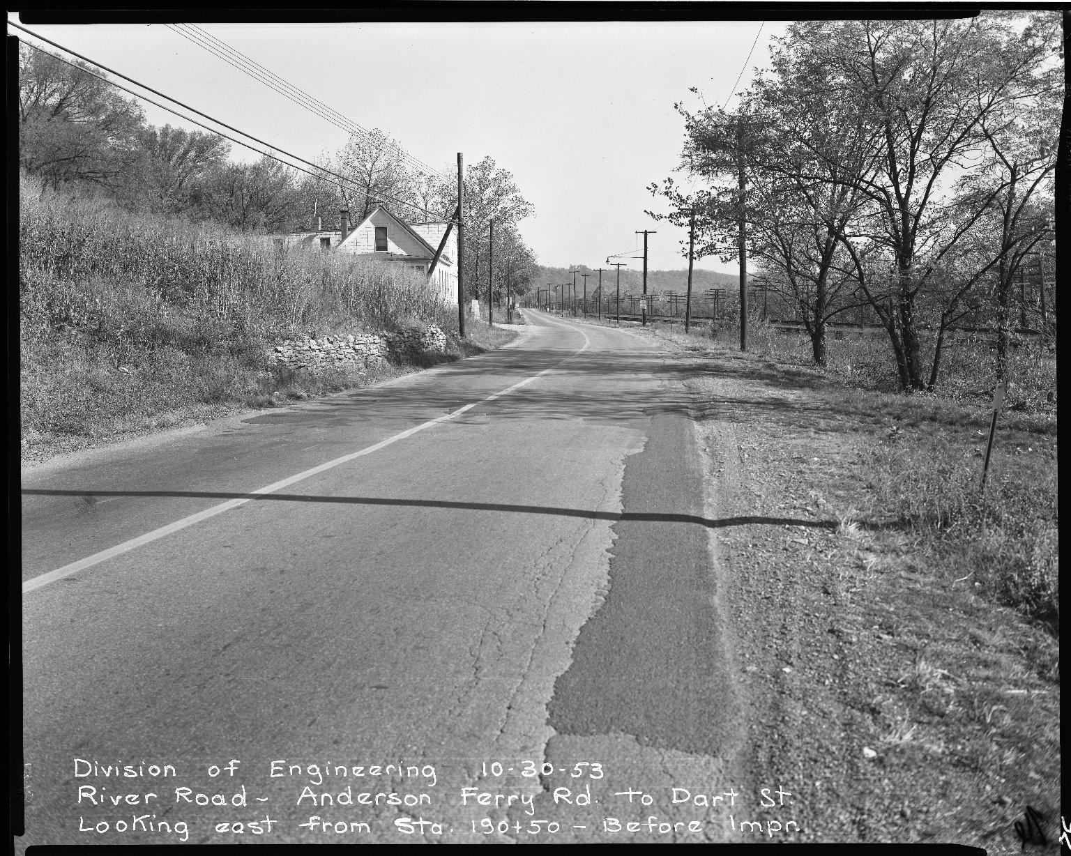 Street Improvement Photographs -- Box 51, Folder 43 (October 30, 1953) -- negative, 1953-10-30