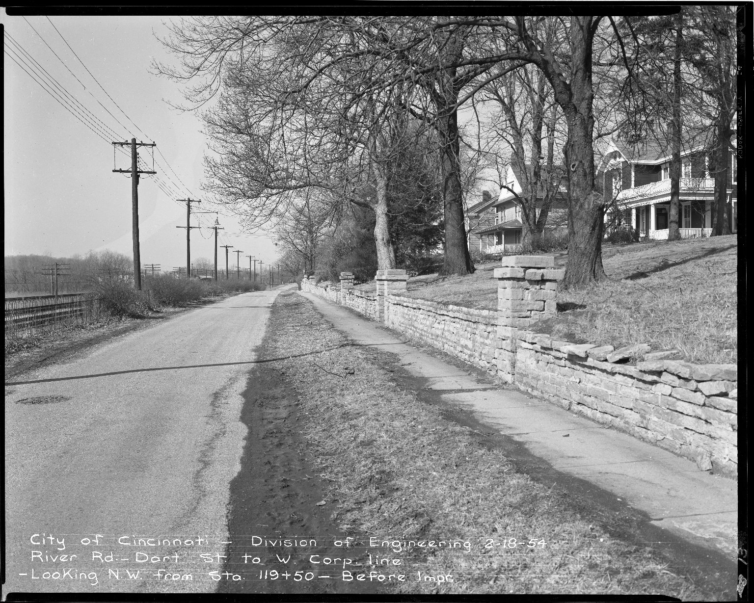 Street Improvement Photographs -- Box 51, Folder 52 (February 18, 1954 - May 17, 1955) -- negative, 1954-02-18
