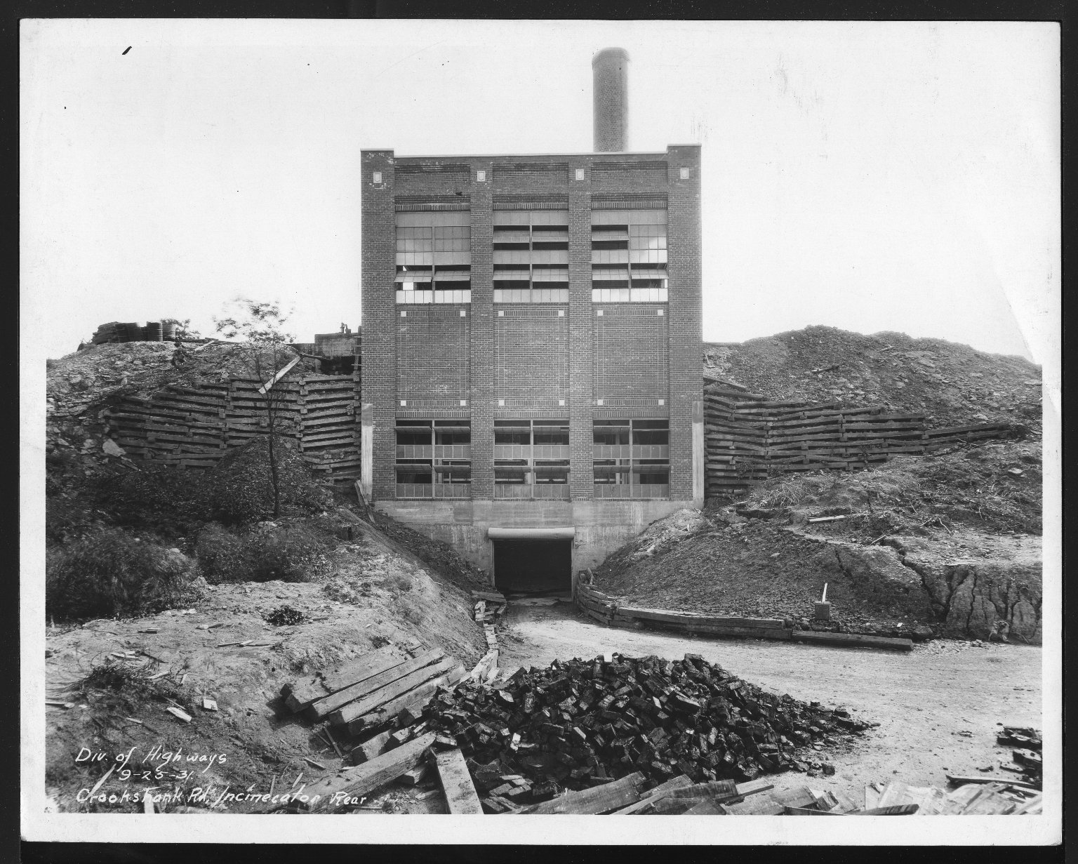 Miscellaneous Photographs -- Box 53, Folder 16 (Crook Shank Road Incinerator) -- print, 1931-09-25