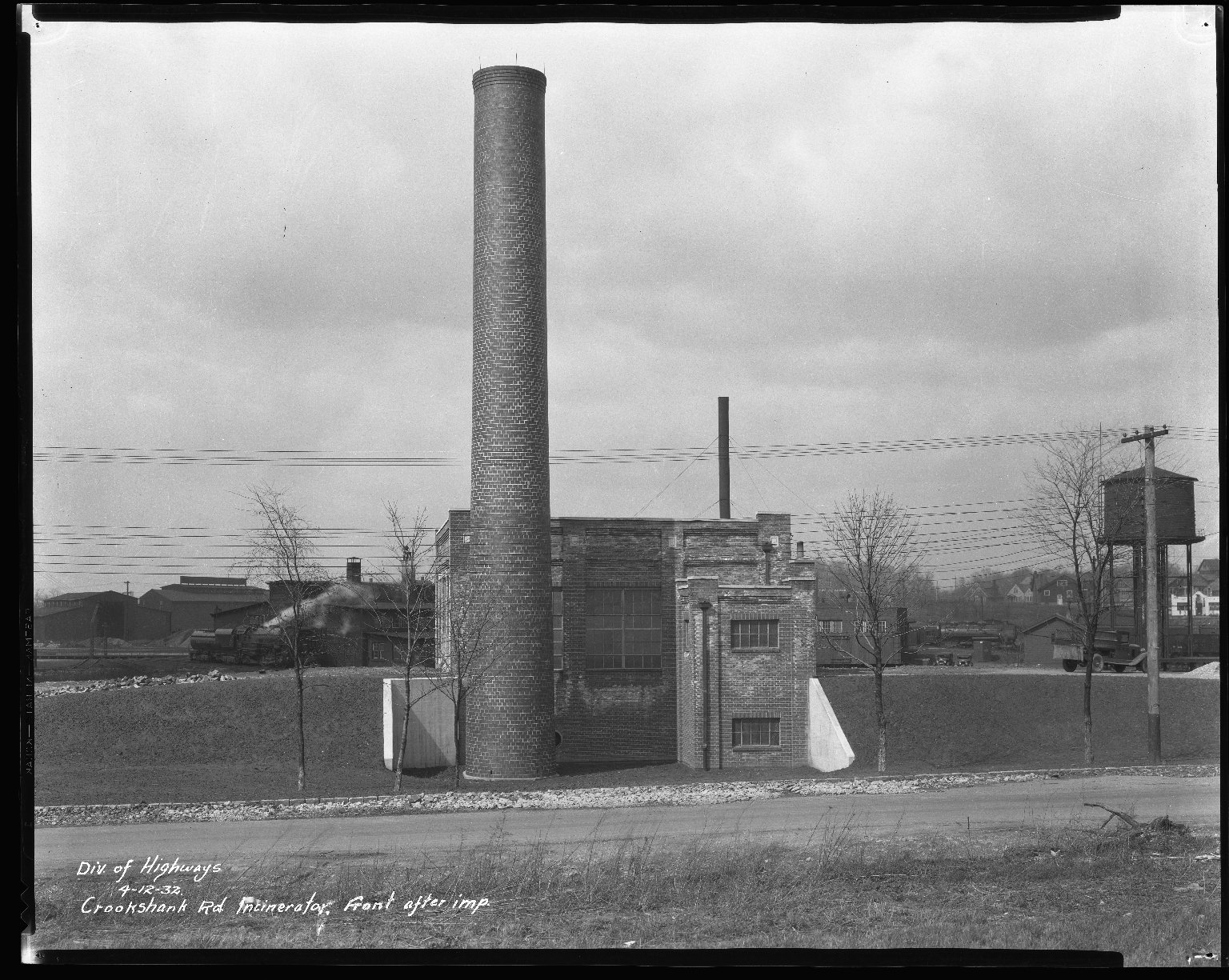 Miscellaneous Photographs -- Box 54, Folder 12 (Crookshank Road Incinerator) -- negative, 1932-04-12