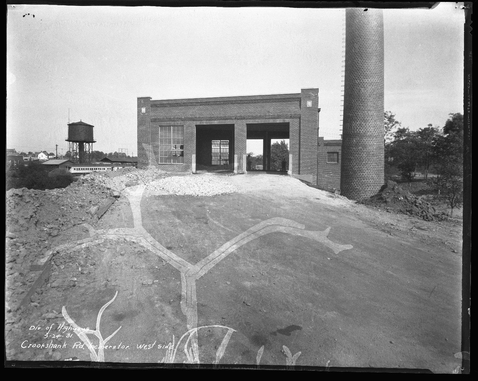 Miscellaneous Photographs -- Box 54, Folder 12 (Crookshank Road Incinerator) -- negative, 1931-09-24