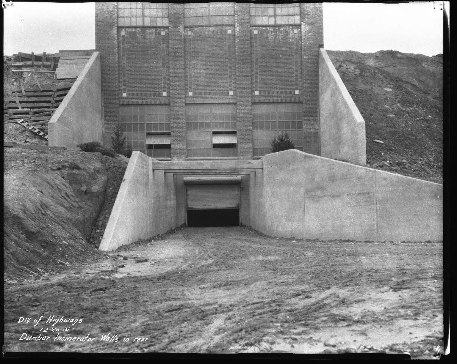 Miscellaneous Photographs -- Box 54, Folder 13 (Dunbar Place Incinerator) -- negative, 1931-12-20