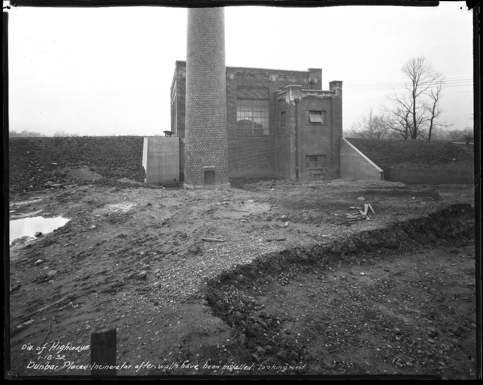 Miscellaneous Photographs -- Box 54, Folder 13 (Dunbar Place Incinerator) -- negative, 1932-01-18