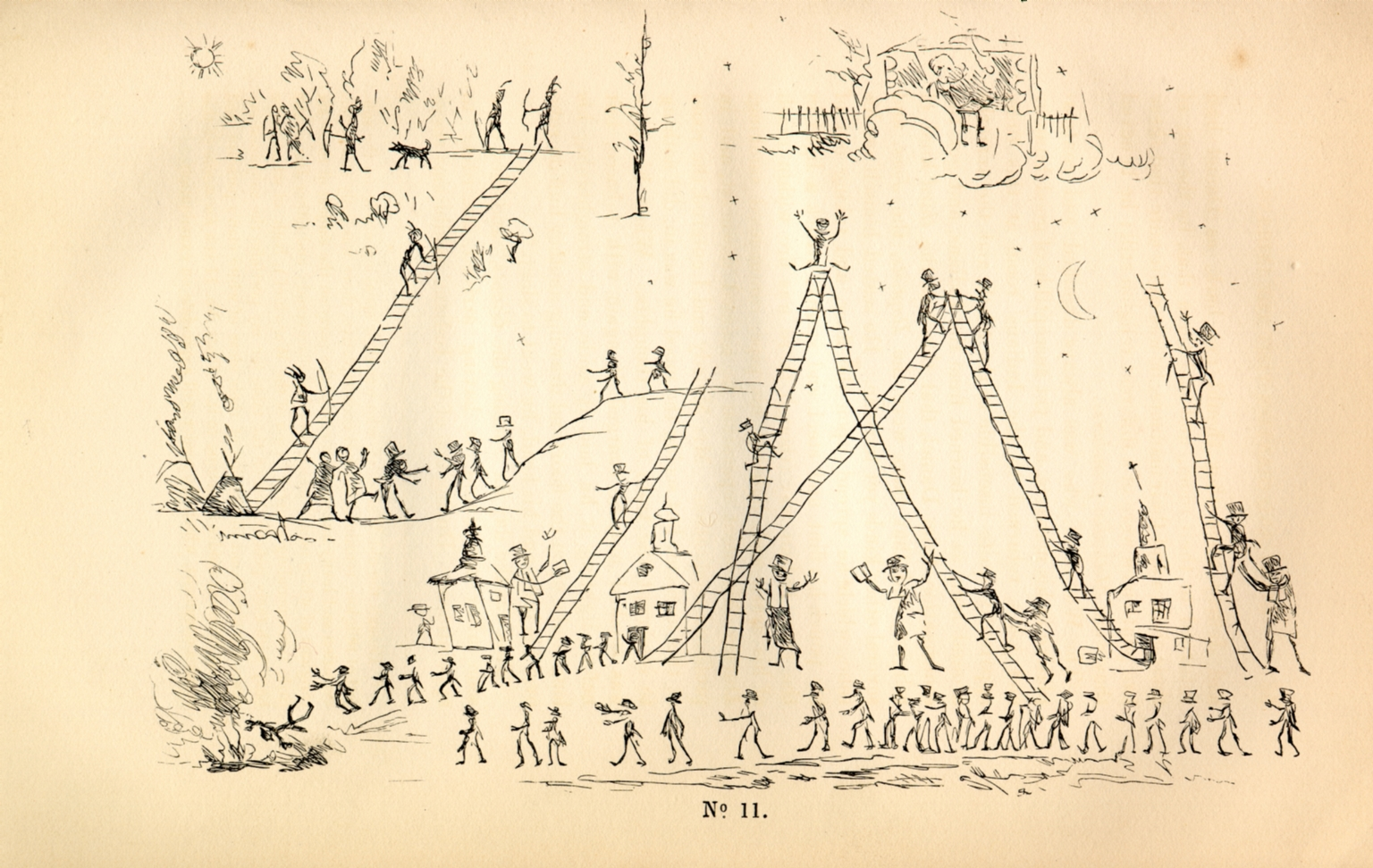 """""""White Man's Paradise and the Six Different Modes of Getting to It"""": Pencil Sketch by Commanding General or Fast Dancer"""