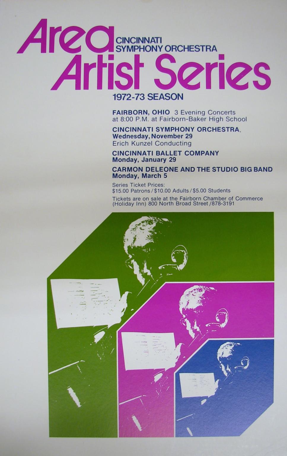Area Artist Series, 1972-73 Season