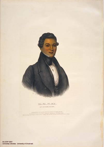 Kanapima, an Ottawa Chief.   Plate 96. McKenney, Thomas L. & Hall, James. History of the Indian Tribes of North America. Philadelphia: F.W. Greenough, 1838-1844.